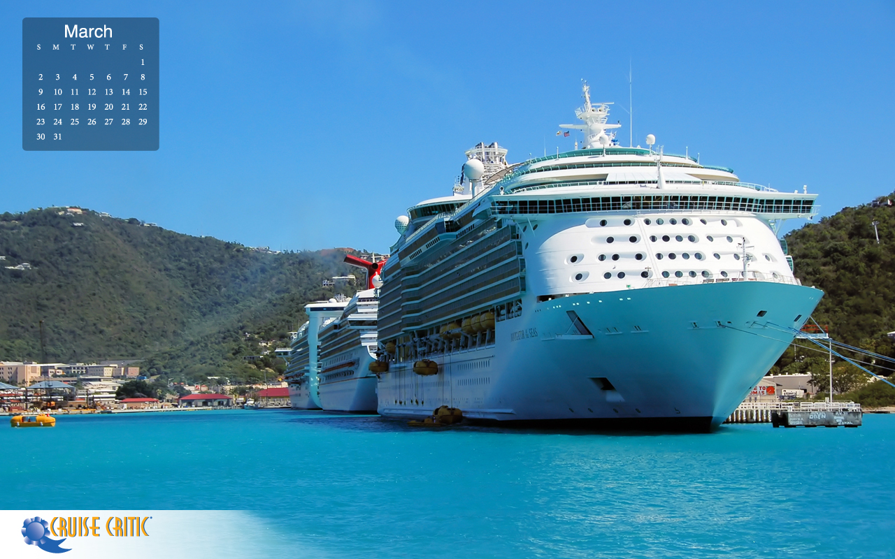 March 2014 Desktop Calendar Cruise Ships in St Maarten The Lido 1280x800