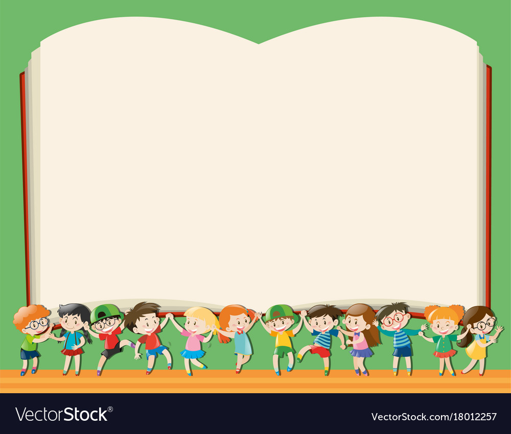 Background template with kids holding big book Vector Image 1000x851