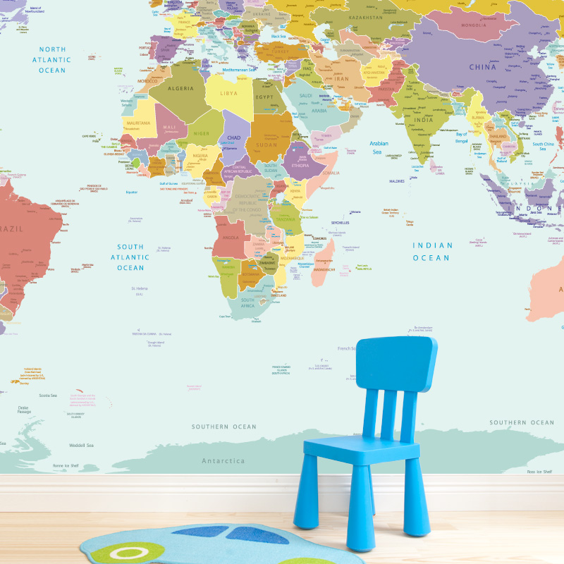 Free Download World Map Wallpaper Mural For Kids Room 800x800