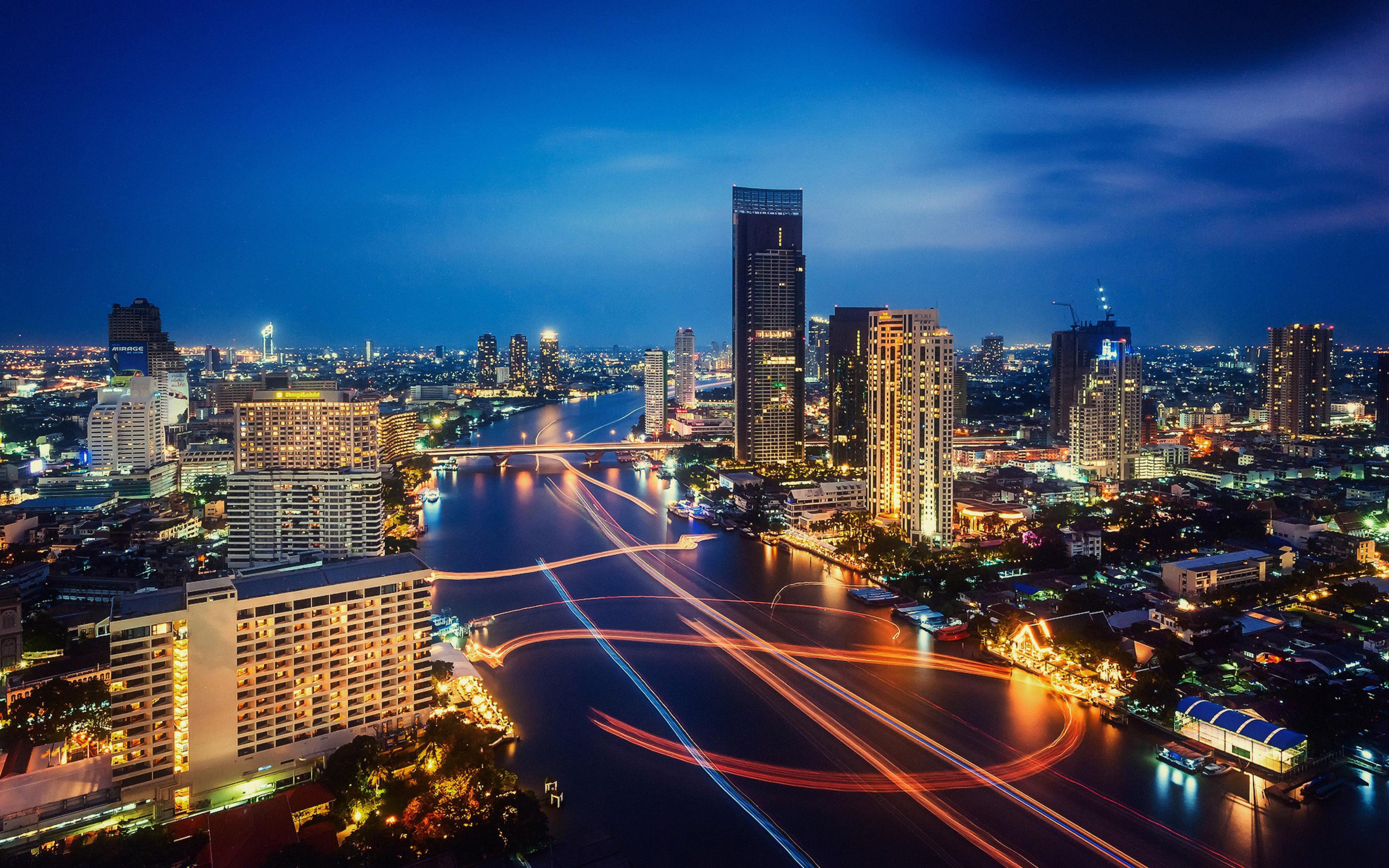 Night Lights Traffic HD Wallpaper Download Bangkok Thailand Night 3840x2400