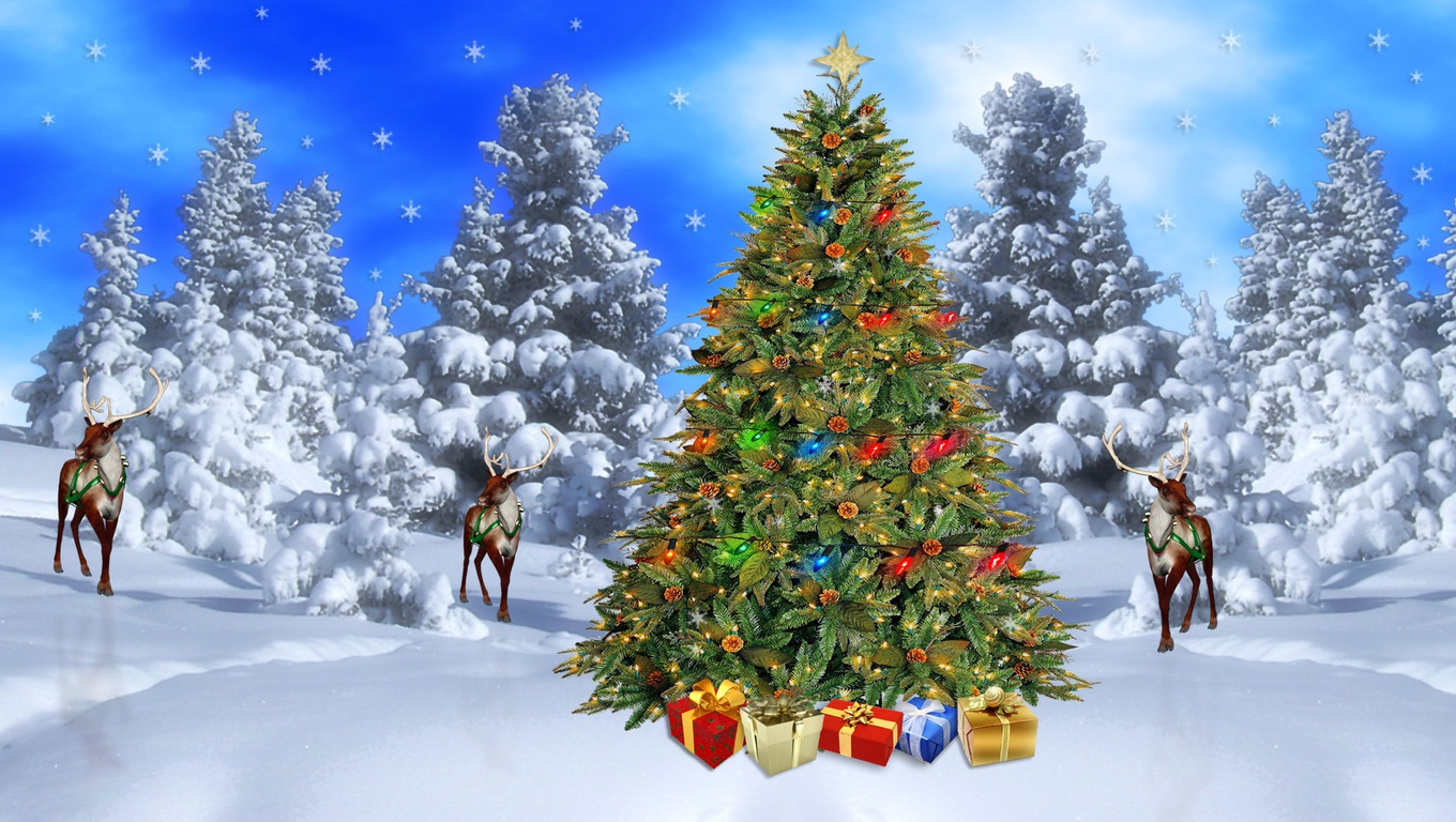 Christmas Desktop Wallpapers Christmas Winter Scene Wallpapers 1360x768