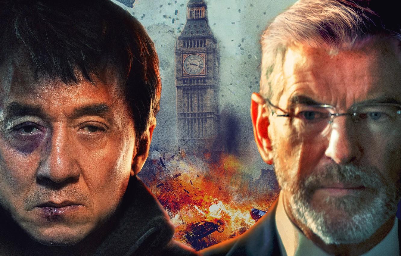 Wallpaper the explosion background Jackie Chan Pierce Brosnan 1332x850