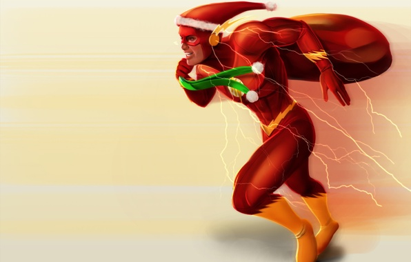 Wallpaper flash dc comic barry allen santa bag gifts holiday new 596x380