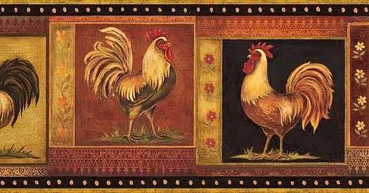 New   Blonder Gypsy Rooster Wallpaper Border bunda daffacom 525x275