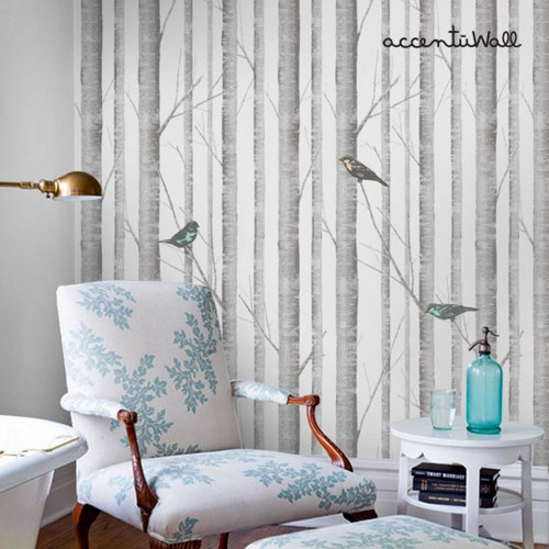 Birch Tree Peel and Stick Fabric Wallpaper Repositionable 500x500