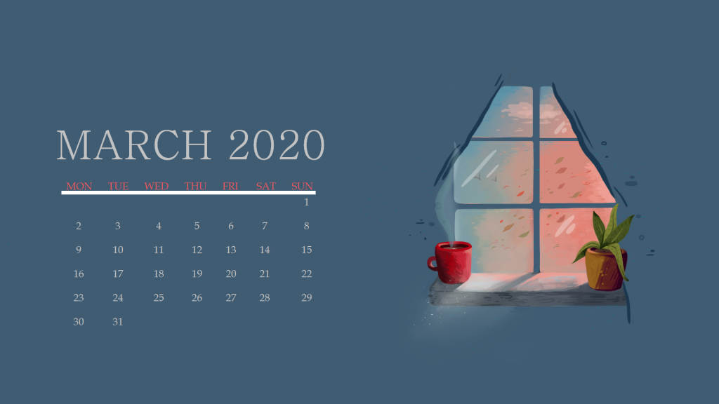 March 2020 Calendar Wallpaper For Desktop Laptop iPhone 1024x576