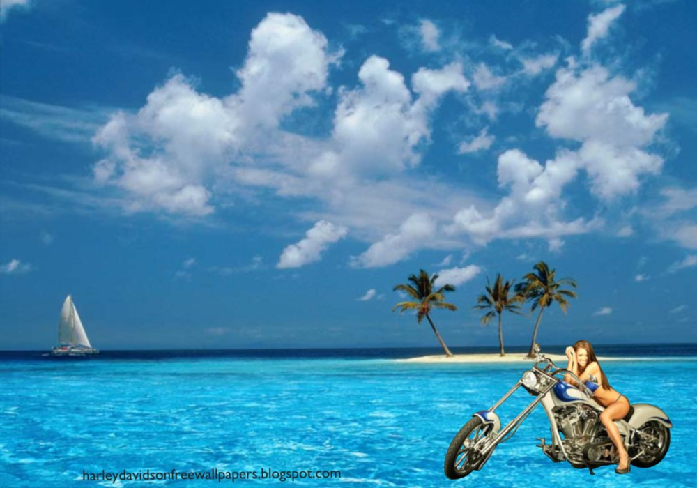 Babes Wallpapers Bikes Beautiful Babe in Blue Island Desktop Wallpaper 1000x700