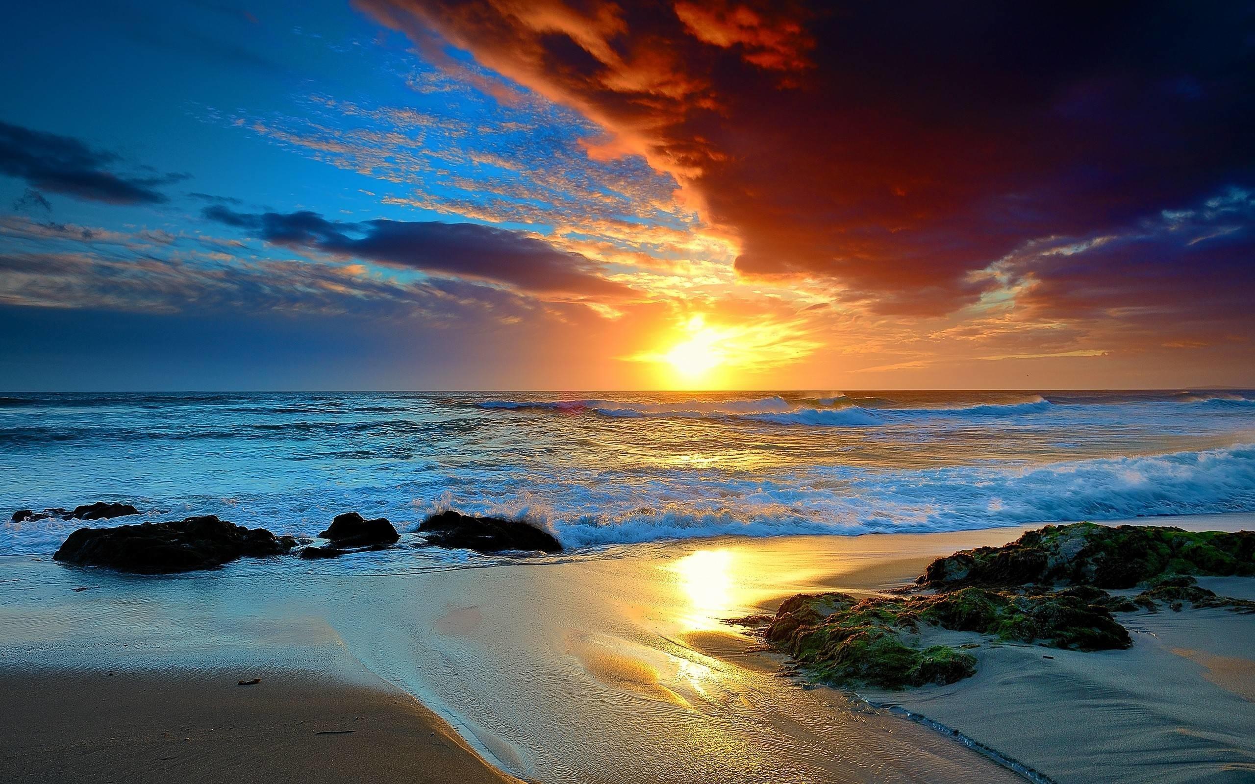 Twilight landscape beautiful sunset coast desktop wallpaper Gallery 2560x1600
