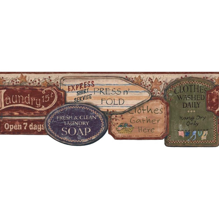 about Laundry Signs Wallpaper Border YC3403BD Country Primitive 700x700