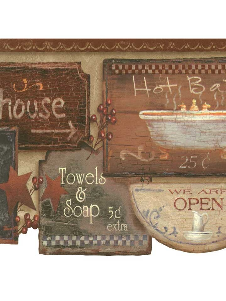 Rustic Bath Signs Wallpaper Border JN1848B country bathroom 720x960