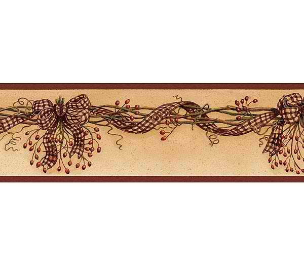 Rosehip Swag Wallpaper Border   Rustic Country Primitive 600x525