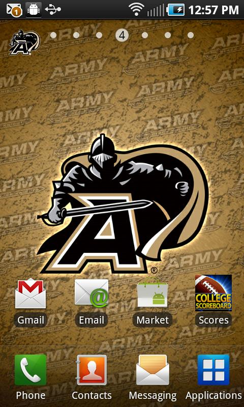 Army Black Knights Revolving Wallpaper app with the background 480x800
