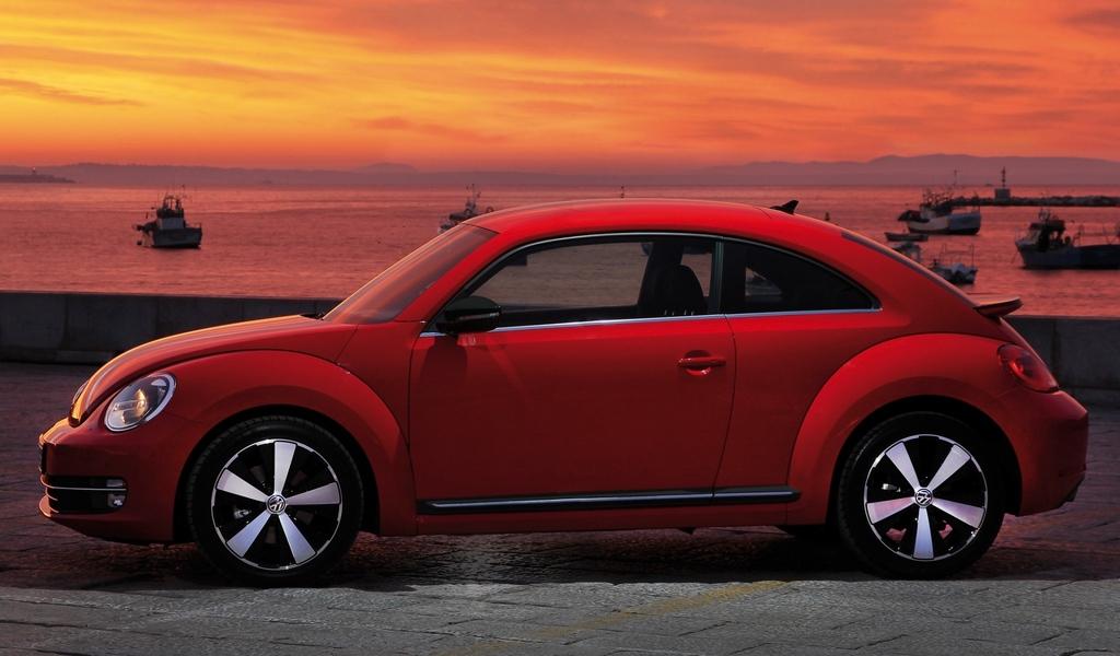 Download wallpaper 1024x600 volkswagen fusca red side view 1024x600