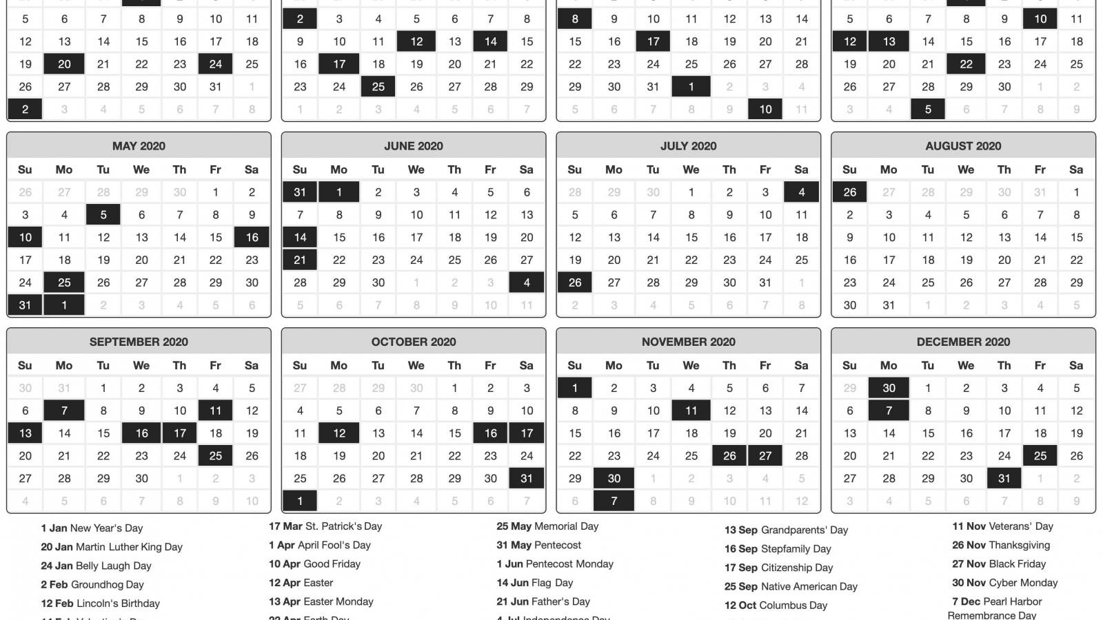 download 2020 Printable calendar posters images wallpapers 1600x900