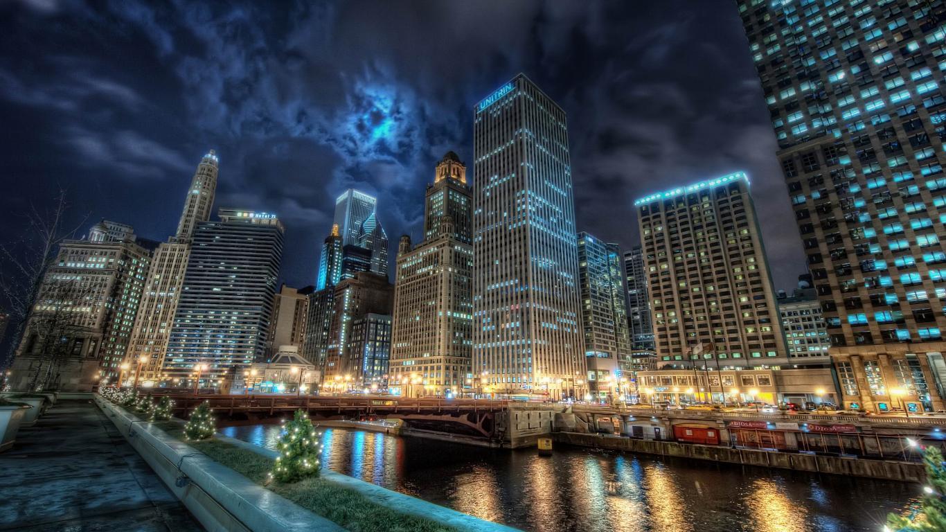 Dynamic City Backgrounds Desktop Image 1366x768