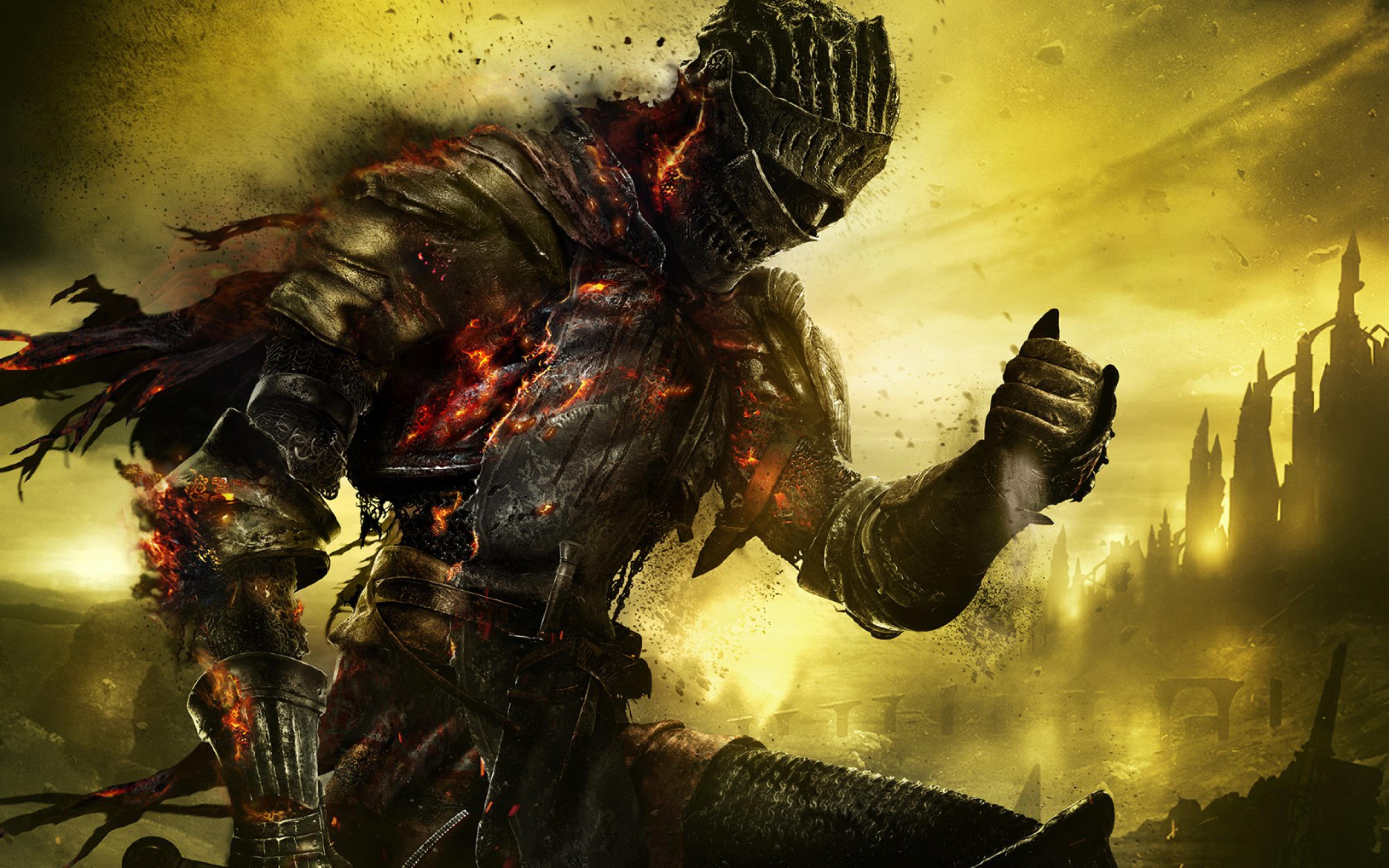 Dark Souls 3 iii Dark Souls 3 Armor Burning Fire Ash Art 3840x2400