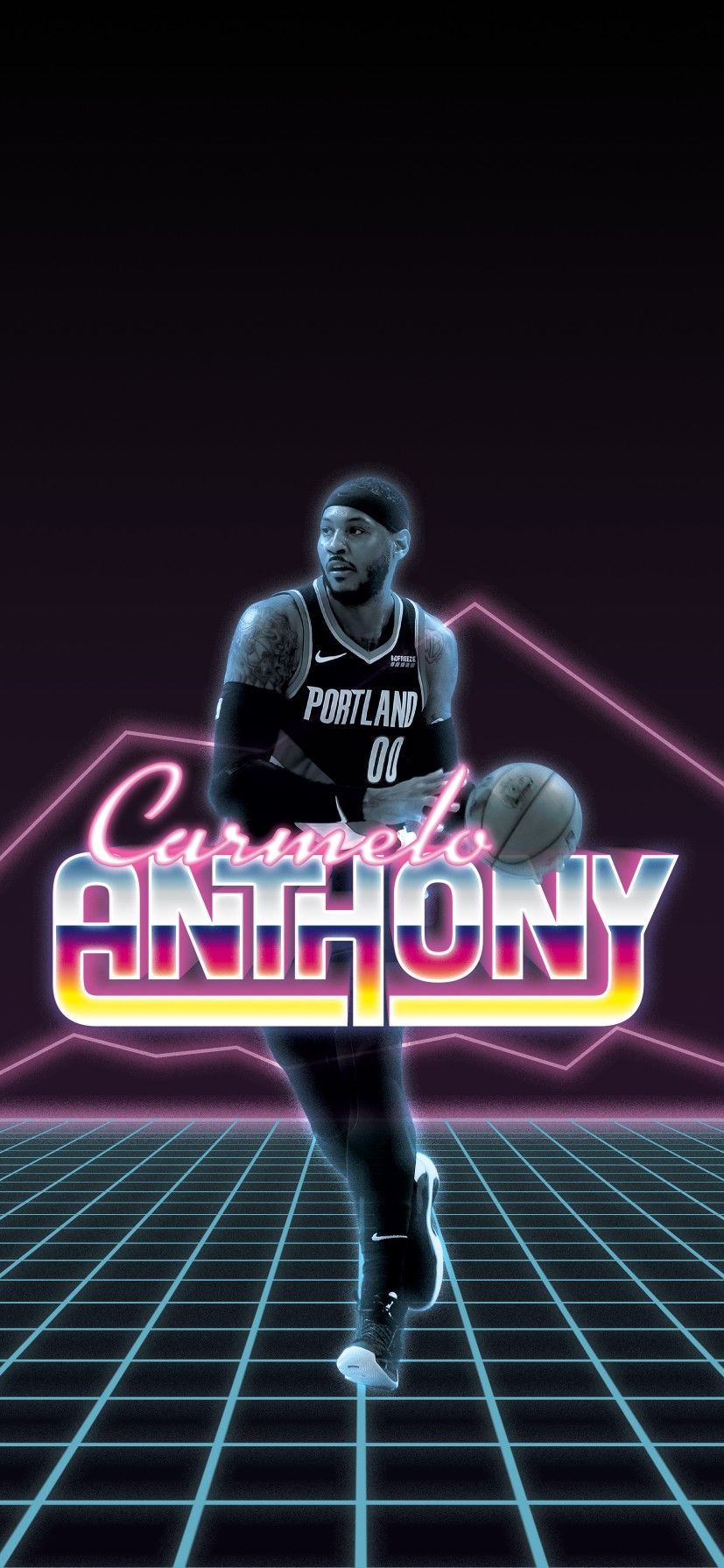 80s Style Portland Trailblazers Carmelo Anthony Wallpaper RipCity 827x1790