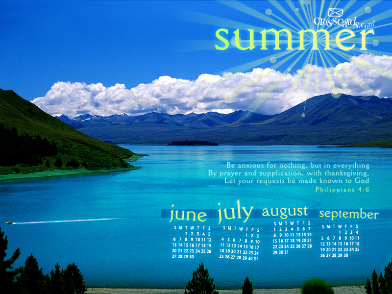 Summer 2010 Desktop Calendar  Monthly Calendars Wallpaper 800x600