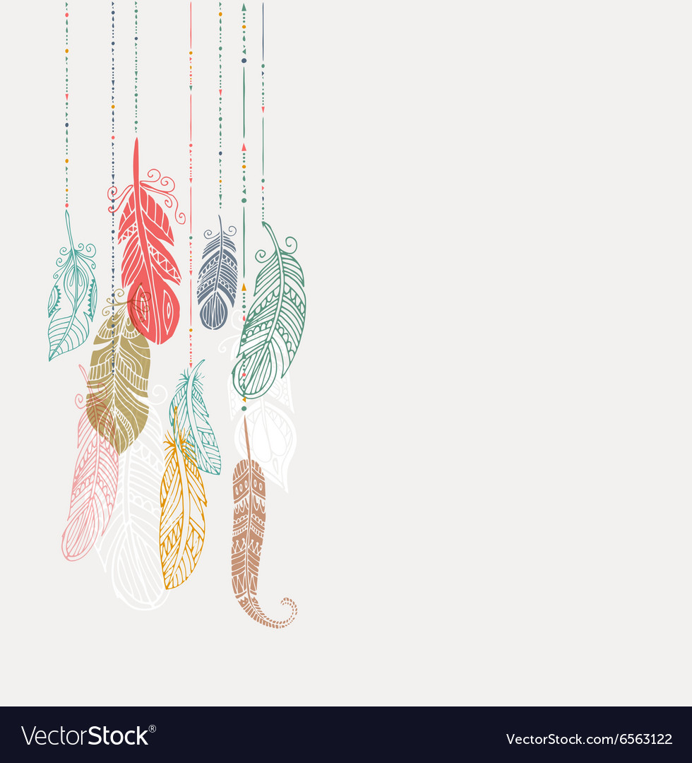 Bohemian style poster with gypsy colorful feathers 980x1080