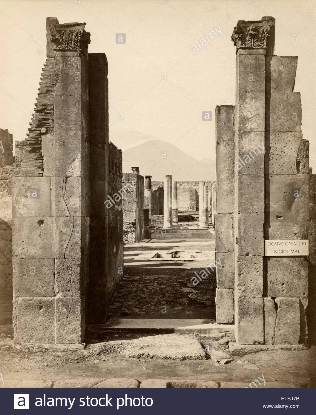 Close Up of Ruins with Mount Vesuvius in Background Pompeii 1058x1390