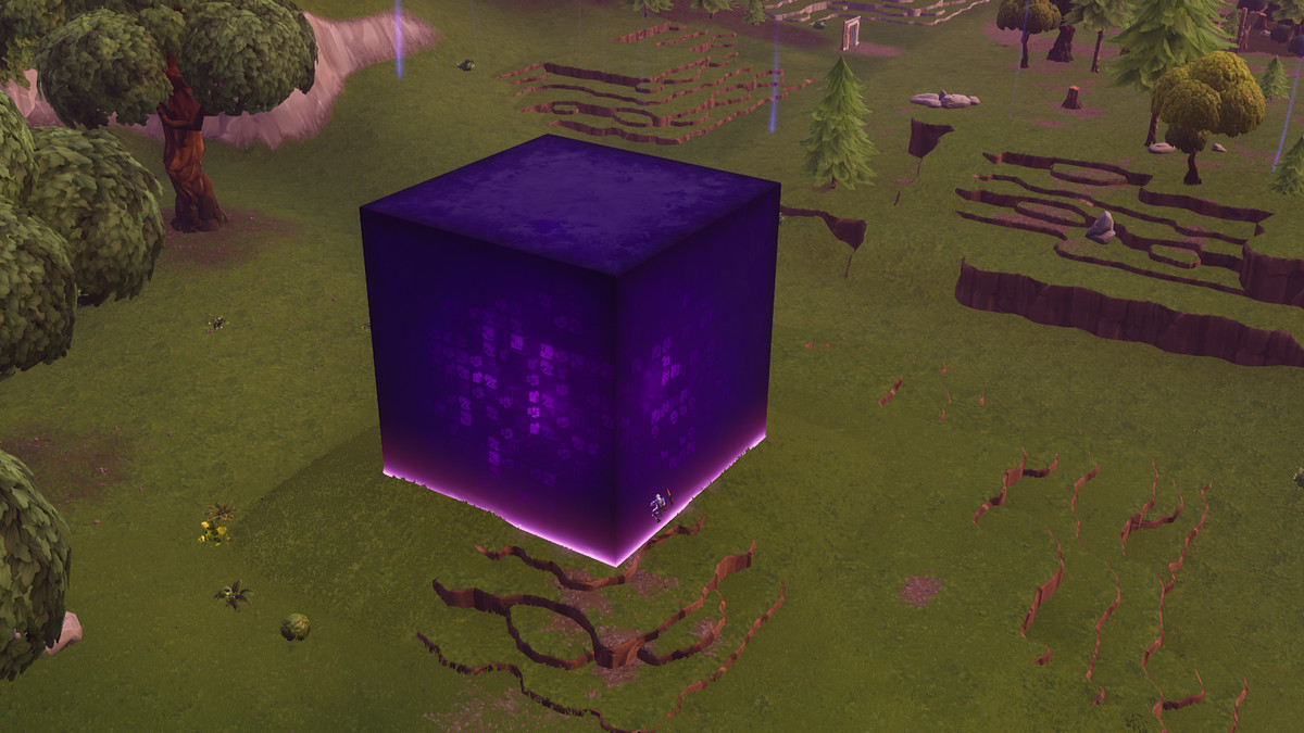 Fortnites mysterious giant cube continues to do weird things 1200x675