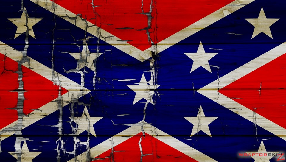 Painted Faded and Cracked Rebel Confederate Flag   Decal Style Skin 960x544