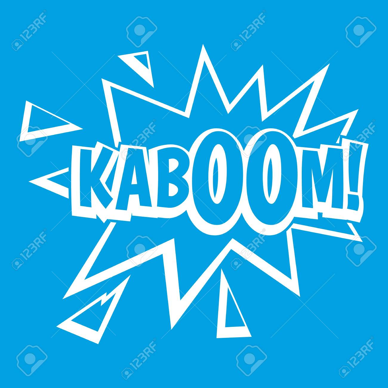 Kaboom Explosion Icon White Isolated On Blue Background Vector 1300x1300