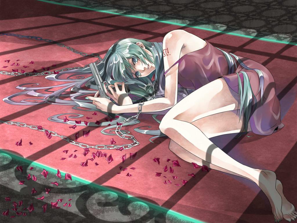 Vocaloid Hatsune Miku 1024x768 Wallpaper Taboo Vocaloid Handgun 1024x768