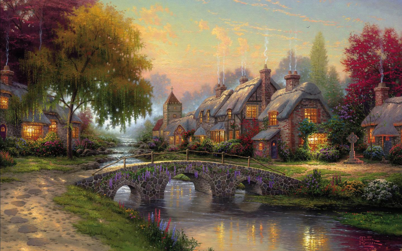 Thomas Kinkade Wallpaper Picture summer bridge river houses 1440x900