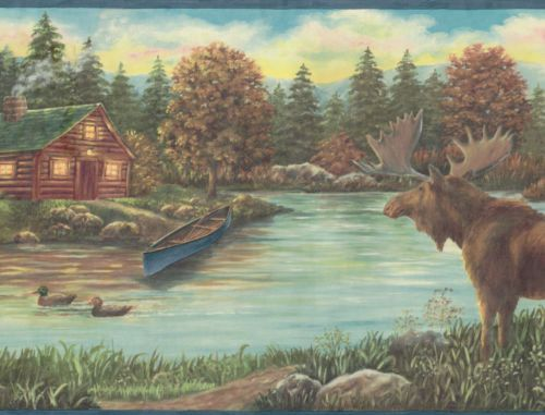 MOOSE CABIN CANOE ON THE LAKE BEAUTIFUL COUNTRY Wallpaper Wall bord 500x381