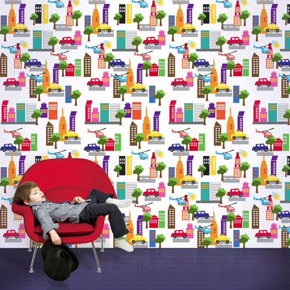 201305five city life wallpaper and decals for a little boy bedroom 580x580