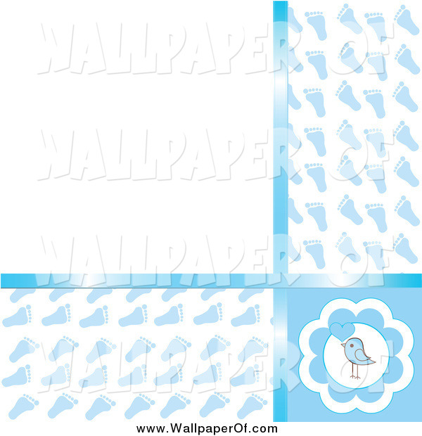 Wallpaper of a Blue Baby Boy Footprint and Bird Background with Text 600x620