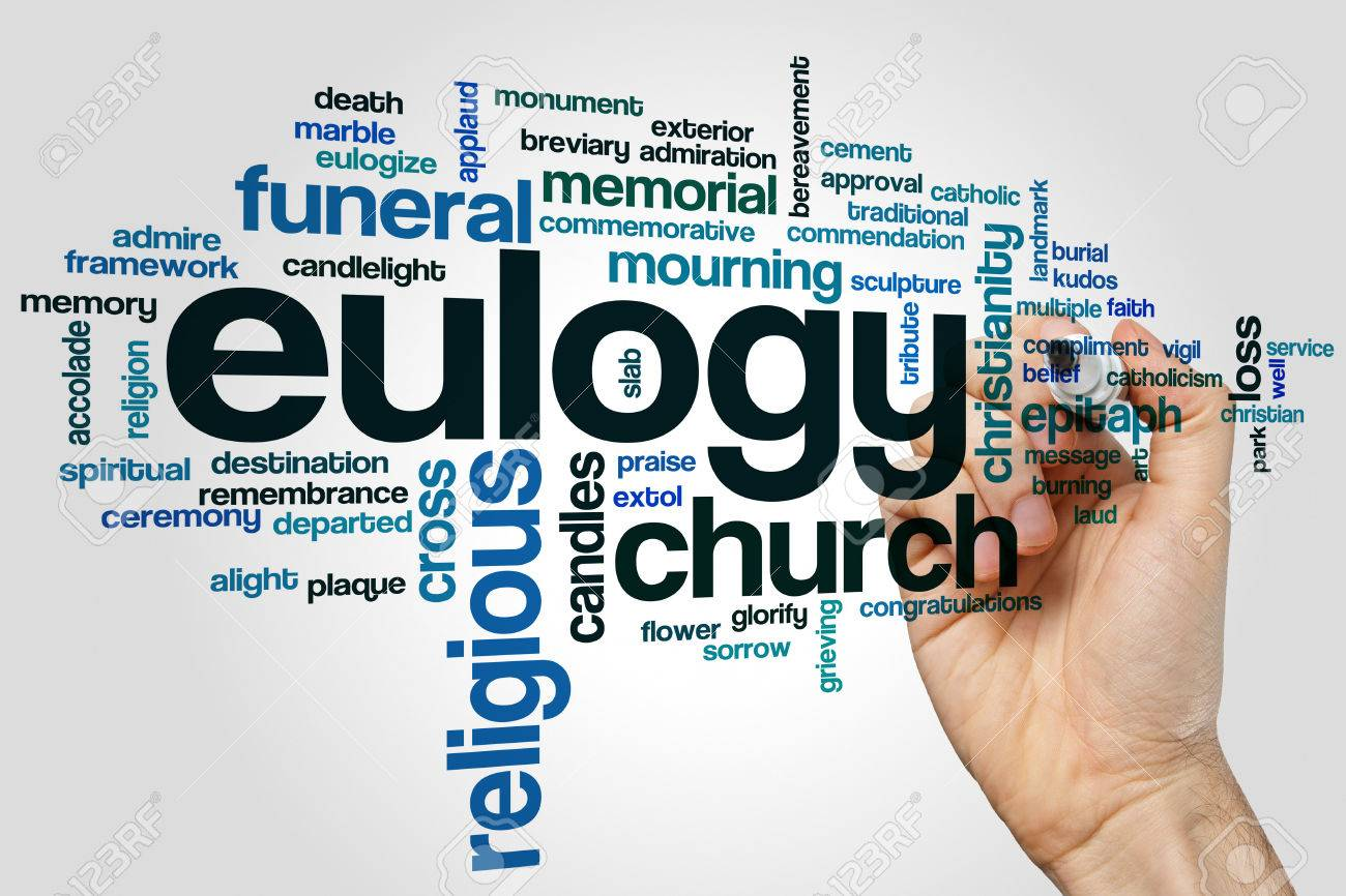 Eulogy Word Cloud Concept On Grey Background Stock Photo Picture 1300x866