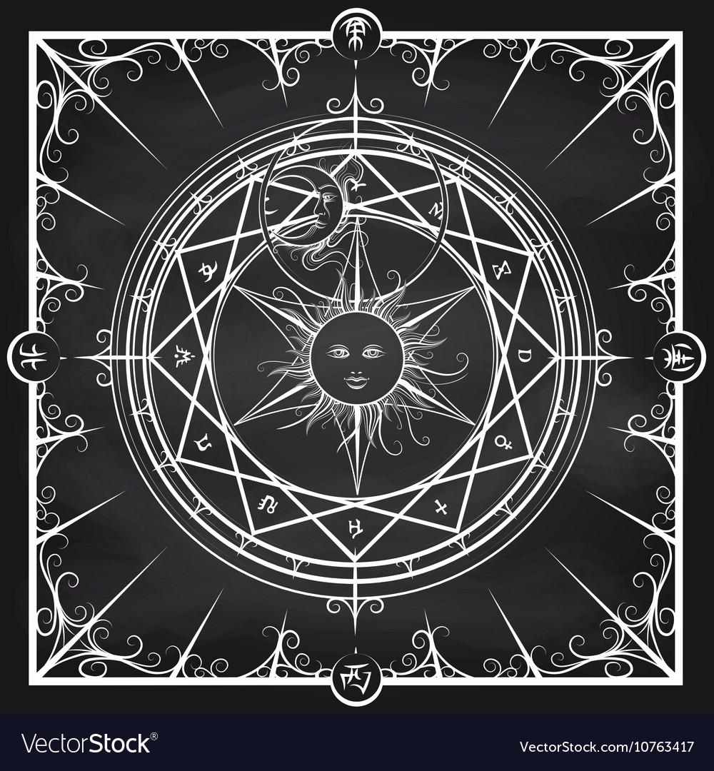 Alchemy magic circle on chalkboard background Vector Image 1000x1080