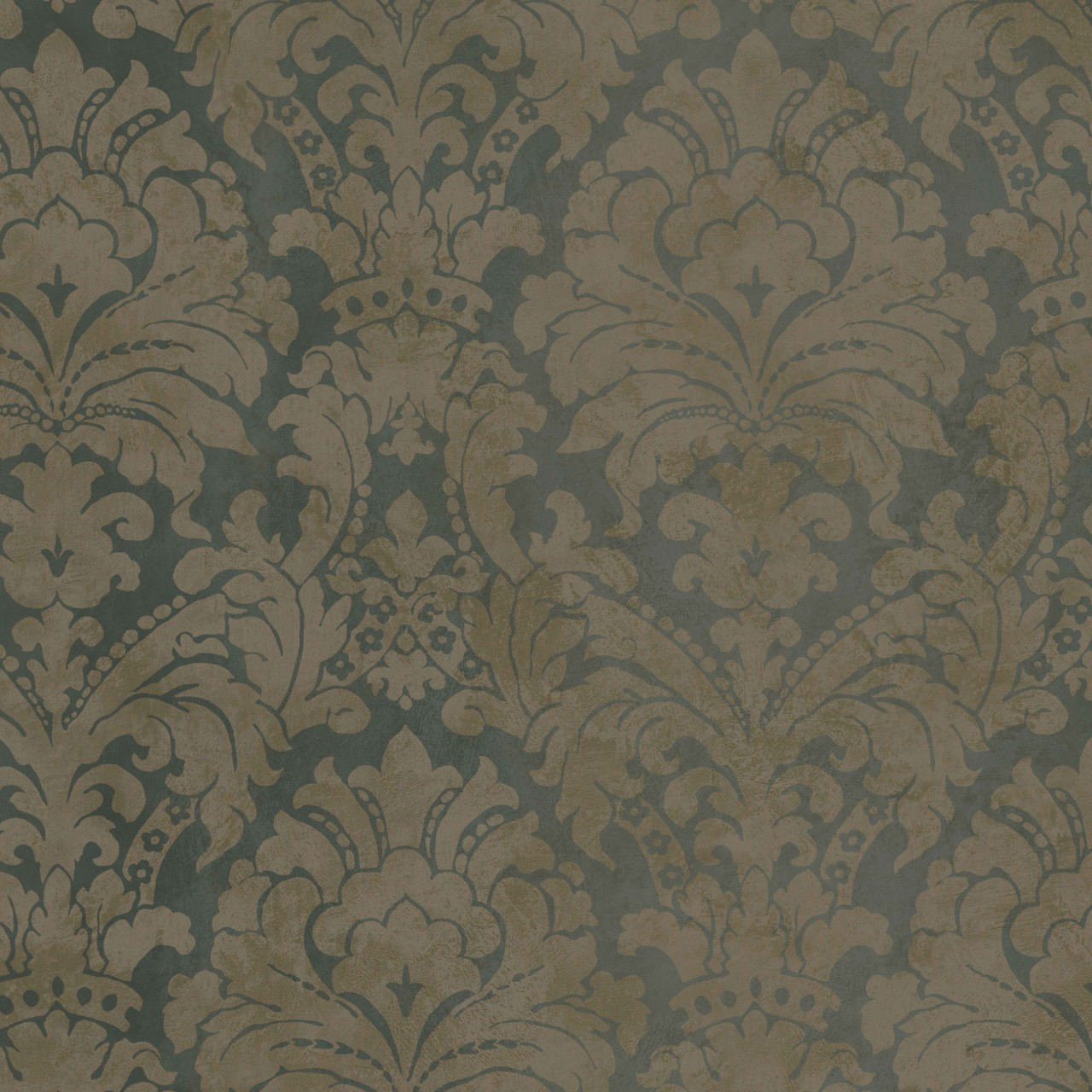 Dark Blue Copper HAV40847 Palace Damask Wallpaper 1280x1280