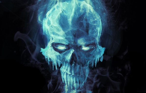 Fantasy art skull cold ice icicles black background wallpapers 596x380
