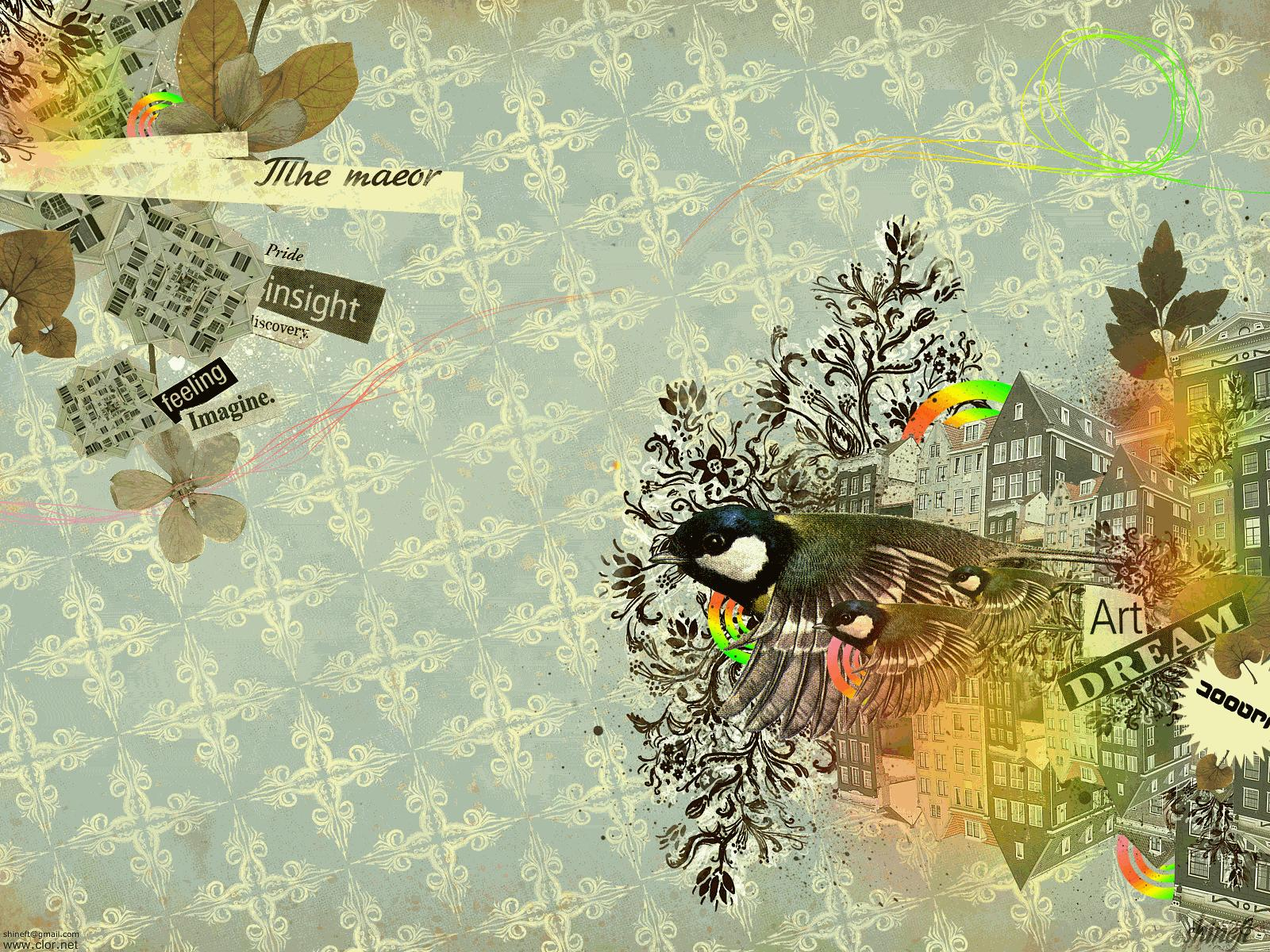 birds vintage text leaves patterns houses floral hd   HD Wallpapers 1600x1200