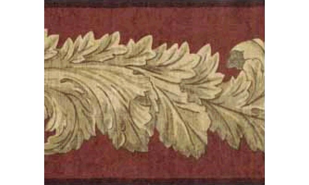 Home Dark Brown Leaf Molding Wallpaper Border 1000x600