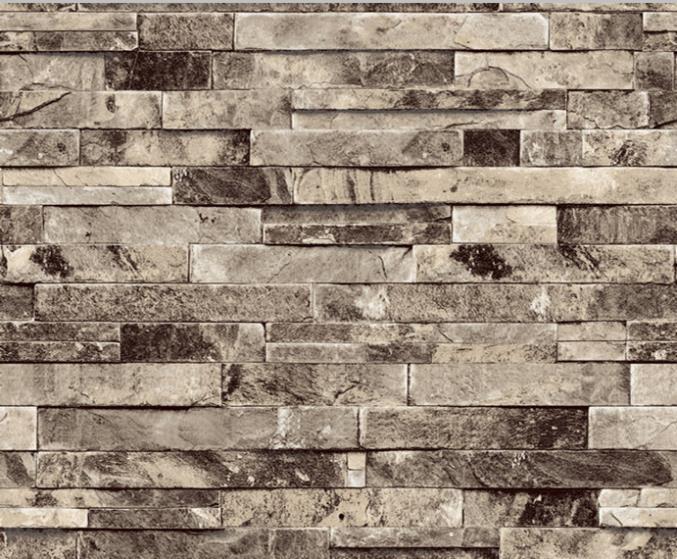 Textured Modern Tan 3D Brick Wall paper Stacked Stone Wallpaper 677x559