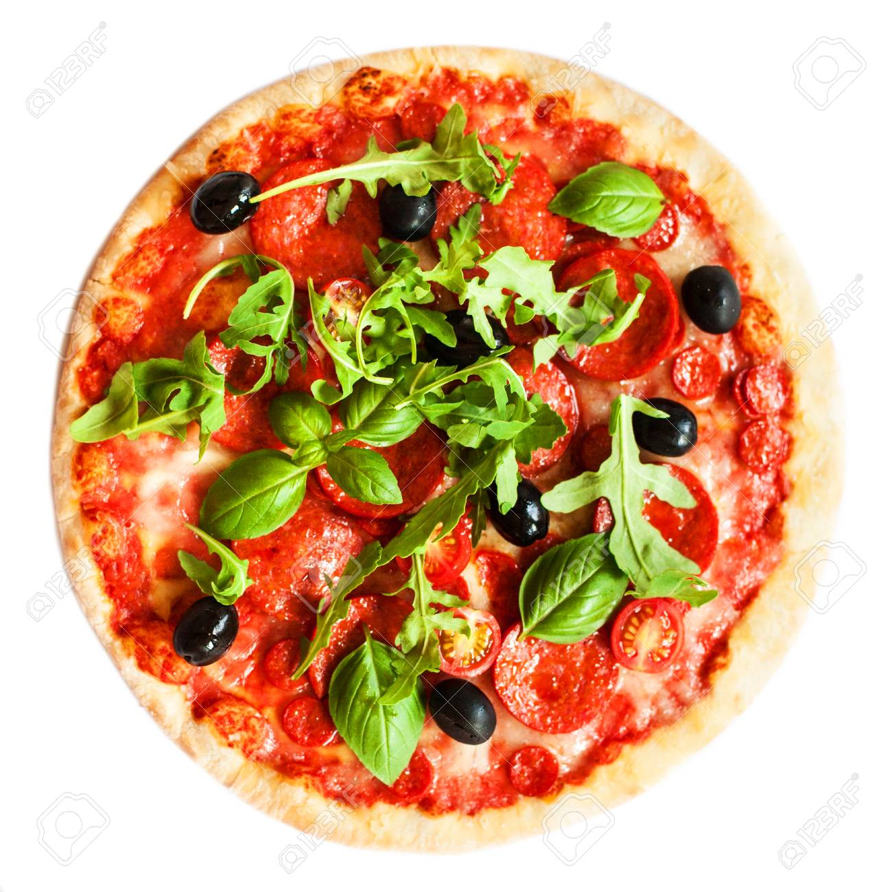 Pepperoni Pizza With Fresh Ingredients Isolated On White 1300x1300