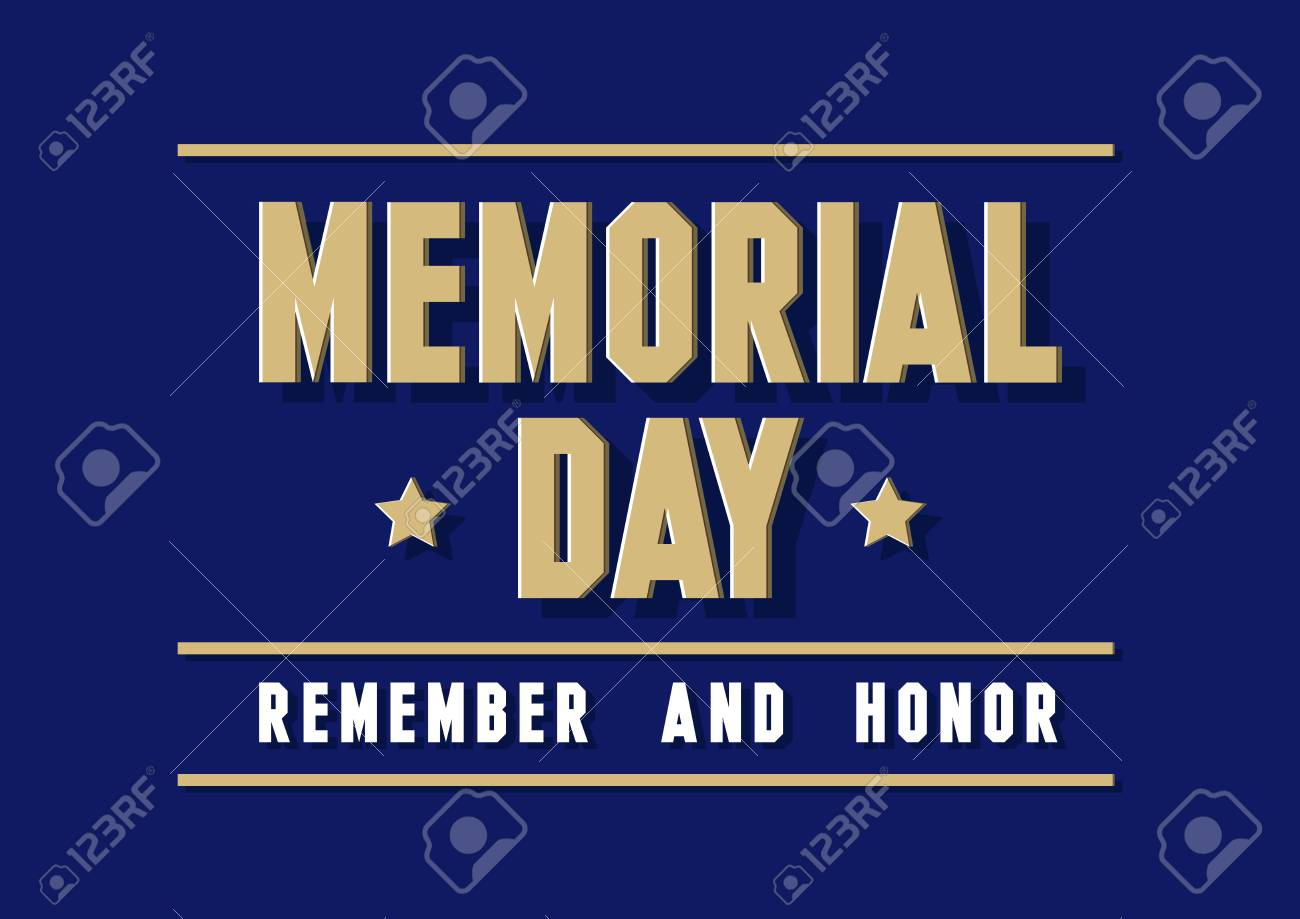 Remember And Honor Memorial Day USA Greeting Card Banner 1300x919