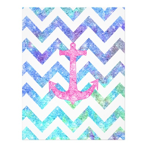 Pink Glitter Nautical Anchor Watercolor Chevron Flyer Zazzle 512x512