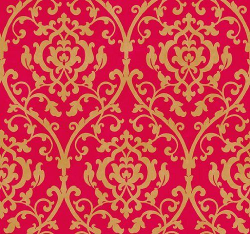 Leaf Trellis Damask Lattice Scroll on Red by The Wallpaper and Border 500x468