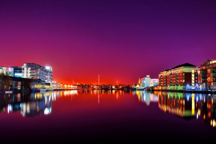 Ireland Houses River Dublin Night Cities reflection night wallpaper 736x491