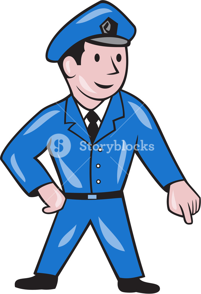Illustration of a policeman police officer pointing down viewed 684x1000