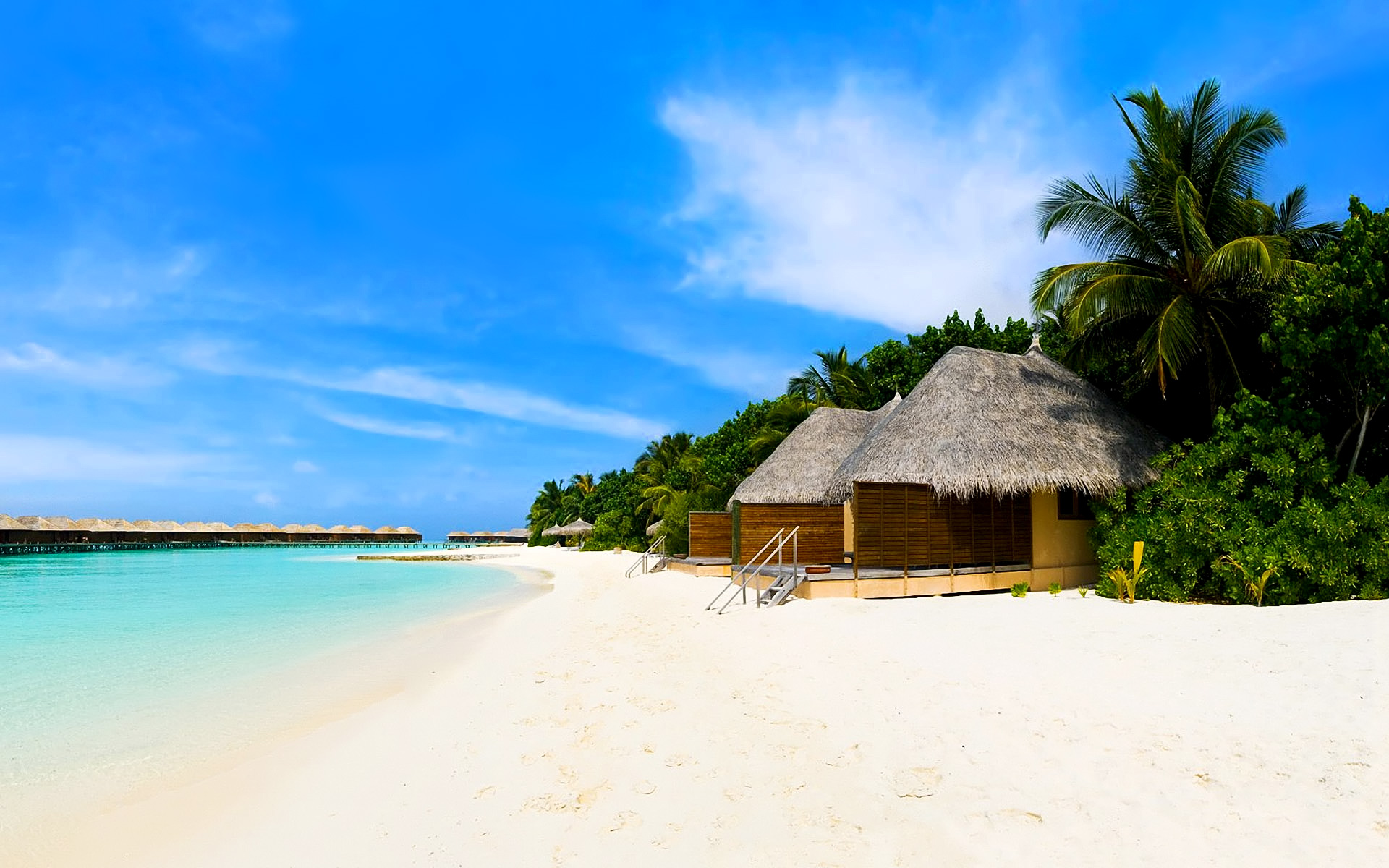 Beach bungalows on the tropical island wallpaper - Beach Wallpapers