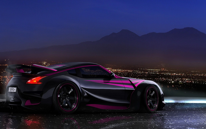 Black Purple Nissan 370Z Racing Sport Car Wallpaper HD Desktop 2880x1800