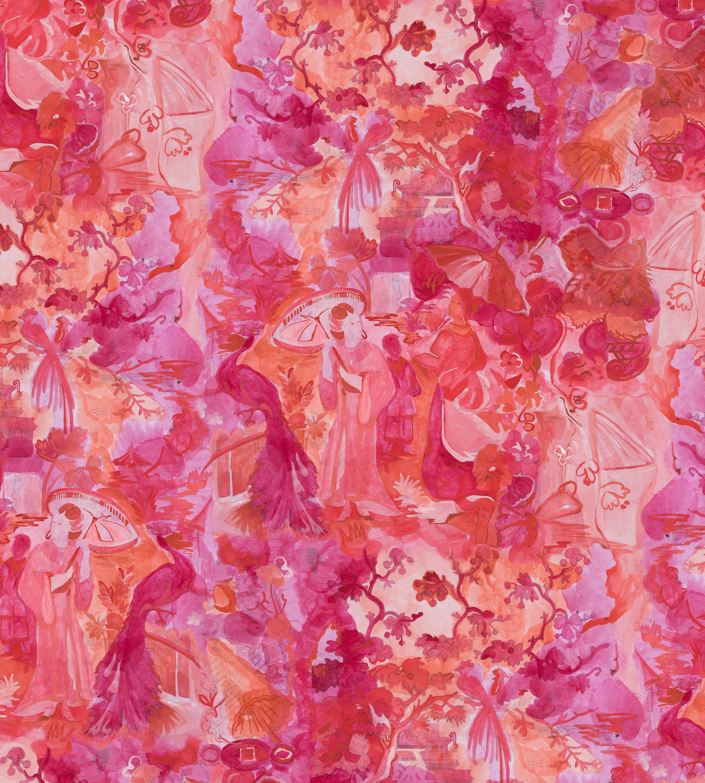 Chinoise Monochrome Red Wallpaper Voutsa 2700x3000