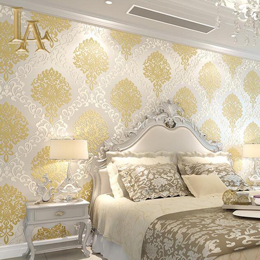 Pink damask wallpaper bedroom Devine Interiors 900x900