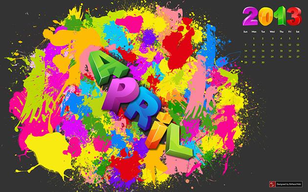 colorful vibrant desktop wallpaper calendar  april 2013html 630x394